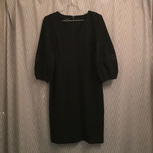 Talbots bell sleeved black dress